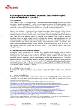 Návrh leg. řešení obsazování orgánů státem vlastněných podniků