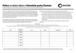 Petice za dobrý zákon o Národním parku Šumava