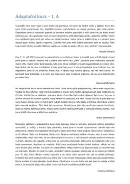 Adaptační kurz – 1. A