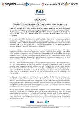 TISKOVÁ ZPRÁVA Zahraniční rozvojová spolupráce ČR: Dobrý
