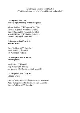 """Vyhodnocení literární soutěže 2015 """"Viděl jsem letět motýla"""" a """"Co"""