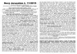 11. číslo zpravodaje NOVÝ JERUZALÉM 2015
