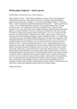 Plutem pluje Zieglerka – mýtus operety