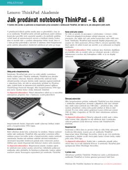 Jak prodávat notebooky ThinkPad – 6. díl