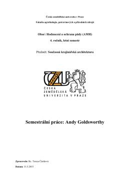 A. Goldsworthy - Česká zemědělská univerzita v Praze