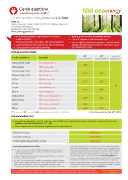 Ceník elektřiny FEE e-TARIF pro rok 2016