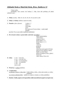 Seznam pomůcek a sešitů pro 2. A