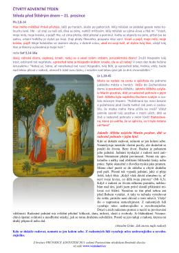 ČTVRTÝ ADVENTNÍ TÝDEN Středa před Štědrým dnem – 21
