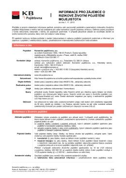 Informace pro zájemce o pojištění MojeJistota