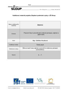 Vzdělávací materiál projektu Zlepšení podmínek výuky v ZŠ Sloup