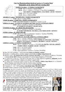 Bohoslužby od 19 - Římskokatolická farnost