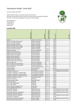 Maloobchodní ceník - Zahradnictví Hrabík