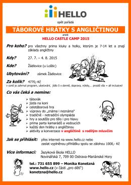 Letní tábor pro děti - Jazyková škola Hello