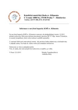 Katolická mateřská škola sv. Klimenta U Uranie 1080/16, 170 00