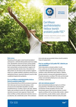 Certifikace spotřebitelského řetězce lesních