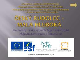 Český Rudolec – malá Hluboká