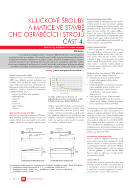 Kuličkové šrouby a matice ve stavbě CNC obráběcích strojů (seriál