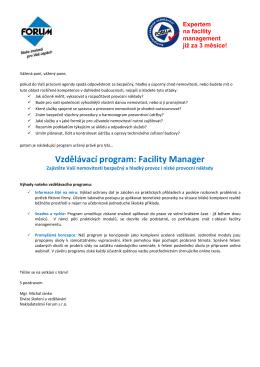 Vzdělávací program: Facility Manager