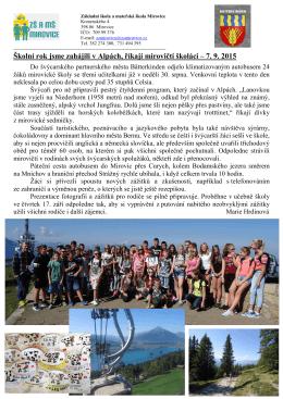 ZŠ a MŠ - Školní rok jsme zahájili v Alpách - 27.9