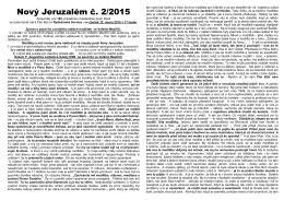 2. číslo zpravodaje NOVÝ JERUZALÉM 2015