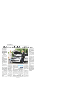 Lidové Noviny: Kladivo na podvodníky s ojetými auty
