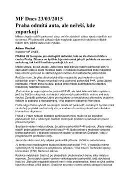 MF Dnes 23/03/2015 Praha odmítá auta, ale neřeší, kde zaparkují