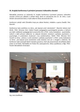 IX. Krajská konference k primární prevenci rizikového chování