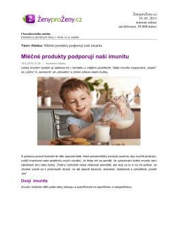 Mléčné produkty podporují naši imunitu