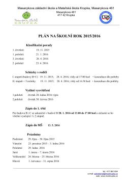 PLÁN NA ŠKOLNÍ ROK 2015/2016 - Masarykova základní škola a