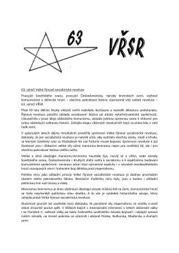 63. výročí Velké říjnové socialistické revoluce