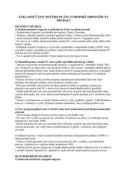Základní části nového plánu evropské odpovědi na migraci 146.57 KB