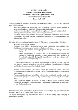 """ZAVĚRY SEMINÁŘE """"Predikce vývoje ocelářského průmyslu na"""
