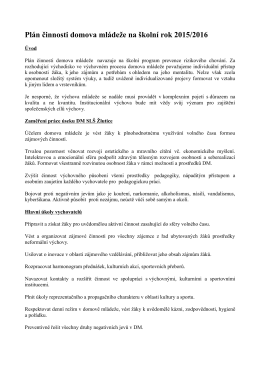 Plán činnosti domova mládeže na školní rok 2015/2016