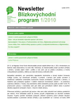 Newsletter Blízkovýchodního programu 01/2010