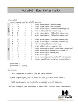 Rozpis pokojů ke stažení v pdf.