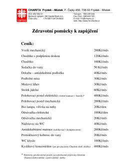 Ceník zdravotnických pomůcek