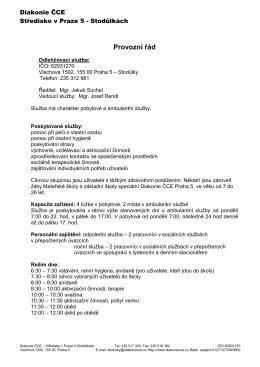provozní řád 1.6.2015
