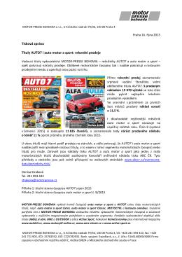 Tisková zpráva Tituly AUTO7 i auto motor a sport: rekordní prodeje