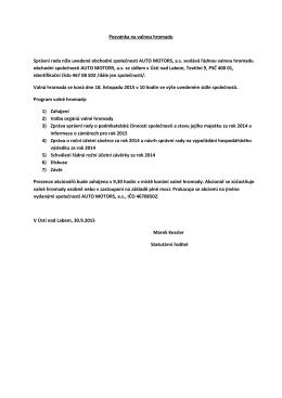 Pozvánka na valnou hromadu Správní rada níže uvedené obchodní