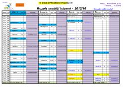 Rozpis utkání – jaro 2016
