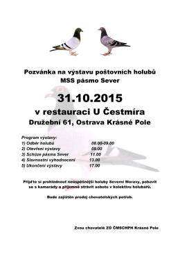 Pozvánka na výstavu poštovních holubů ZO Krásné Pole a přátelské