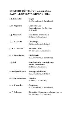 koncert učitelů 27. 4. 2015, 18:00 radnice ostrava