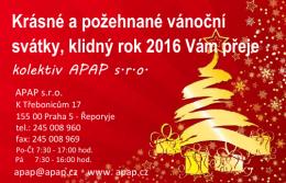 Krásné a požehnané vánoční svátky, klidný rok 2016 Vám přeje