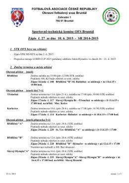 Zpráva STK OFS Bruntál ze dne 10. 6. 2015