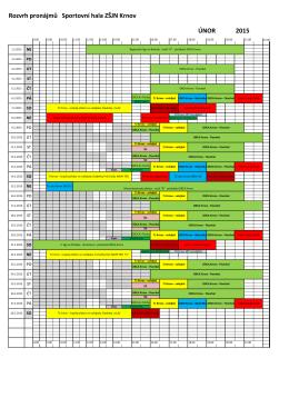 Rozvrh pronájmů Sportovní hala ZŠJN Krnov ÚNOR 2015