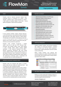 FlowMon sonda – datasheet - Mopos Communications, as