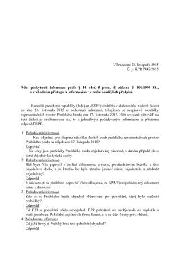 Odpověď podle zákona č. 106:1999 Sb. Č.j. KPR