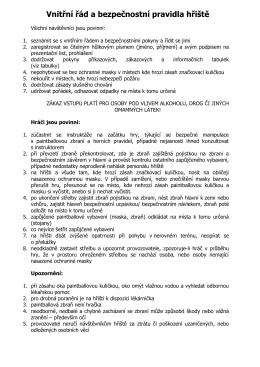 Vnitřní řád a bezpečnostní pravidla hřiště