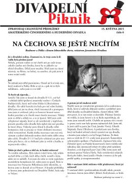NA ČECHOVA SE JEŠTĚ NECÍTÍM