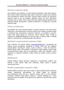 Kateřina Bálková – Ochrana osobních údajů